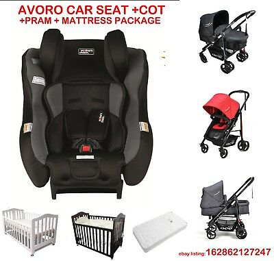 Mother's Choice Avoro Car Seat & Classic Cot & Mattress &Pram Stroller Package 2