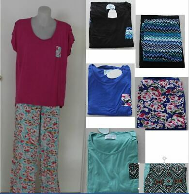 Ladies PYJAMAS PJ  Short Sleeve top Tee pants Sleepwear Size PLUS 18 20 22 24