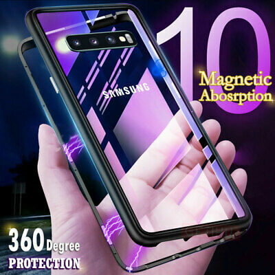 Magnetic Tempered Glass Case Cover Samsung Galaxy S7 S8 S9 S10 Plus S10e Note 9