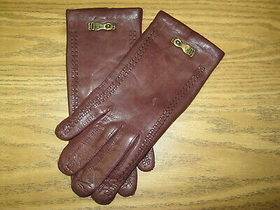 NOS New Old Stock Size 6.5 Vintage ETIENNE AIGNER Burgundy Leather Gloves Italy