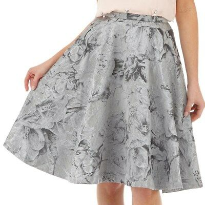 1c28018fe5 TED BAKER silver floral jacquard pleated fit & flare midi full skirt party  ...