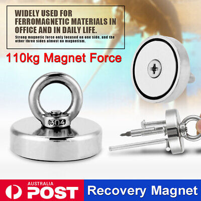 110Kg 304 Salvage Strong Recovery Magnet Neodymium Hook Treasure Hunting Fishing