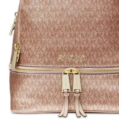 7025ab46292b Michael Kors  NWT Metallic Signature Rhea Zip Backpack Soft Pink Rose Gold