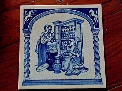 """Delft Collectible Woman Pharmacists Handmade 6""""x6"""" Pill Tile"""