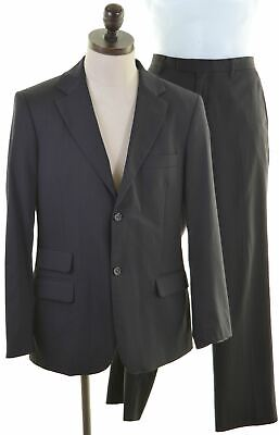 BENETTON Mens 2 Piece Suit IT 50 Large W34 L33 Black Striped Polyester  KA06