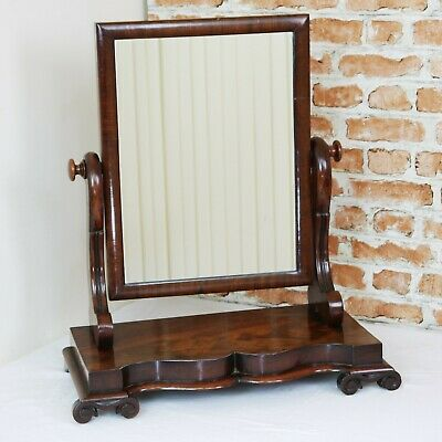 Antique Victorian Small Flame Grain Mahogany Dressing Table Toilet Swing Mirror