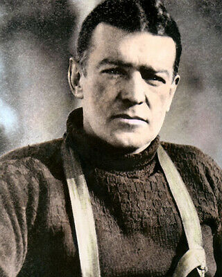 "ERNEST SHACKLETON IRISH EXPLORER 1915 8x10"" HAND COLOR TINTED PHOTOGRAPH"