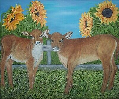 """original oil painting Calves and Sunflowers - size 24""""x 20"""" x 5/8"""""""