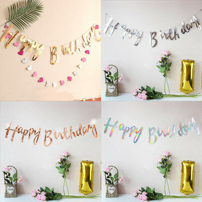 Bunting Garland Birthday Gold Happy Rose Party Hanging Alphabet Decor Banner P