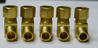 "Brass Compression 90° Male Elbow Fitting 3/8"" OD Tube x 1/4"" NPT Male Pipe Qty 5"
