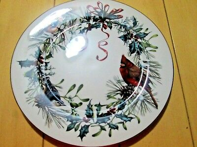 """$72 NEW Lenox Winter Greetings Dinner Plate 10 7/8"""" Bone China 24K Gold Accents"""
