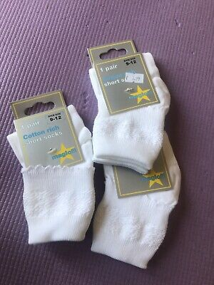3 Pairs of White Ankle Socks Size 9-12