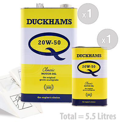 Car Engine Oil Service Pack 5.5 LITRE (1 Gallon + 1L) Duckhams Classic Q 20w-50