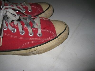48cab3339282 Vintage CONVERSE All Star High Sneakers USA MADE Extra Stitch Red Size 8