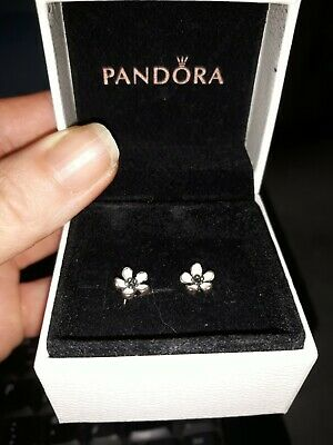a2867fd7a Genuine Pandora Pink Cherry Blossom Flower Stud Earrings in Sterling Silver,