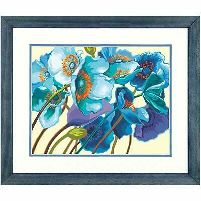 PAINTWORKS Paint by Number Kit BLUE POPPIES 14 x 11 inches Dimensions