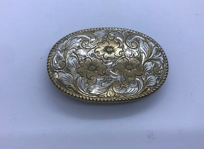 Crumrine Fancy Floral Scrolled Silver & Gold Etched Ladies Belt Buckle