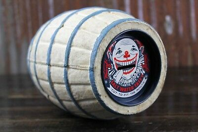 Vintage Paper Mache Coin Bank Barrel Scary Clown Candy Company Advertising