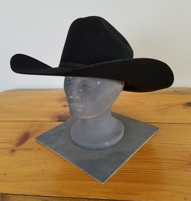 16158cfb8829e Vintage Fincher s Long Oval Black Wool Cowboy Hat Size - 6 3 4 Made In