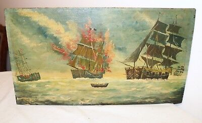 antique original 1800's Folk Art nautical sea sail ship war oil painting on wood