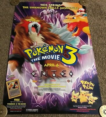 Original 2001 POKEMON 3 Advance Movie Poster, Rolled, DS, 27x40