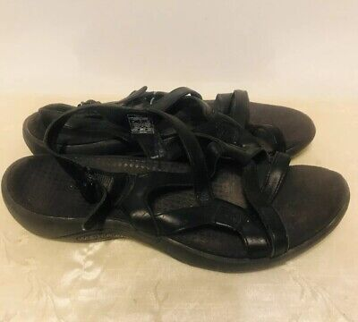 9b4529b281cc WOMEN S MERRELL AGAVE Black Leather Slingback Sandals Size 7 -  6.50 ...