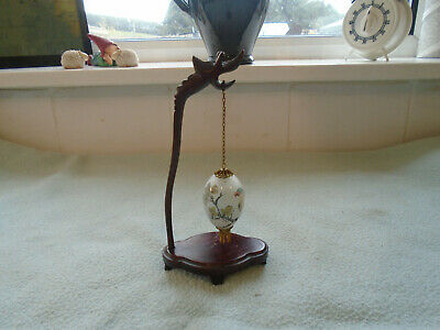 Chinese reverse glass painting egg and stand