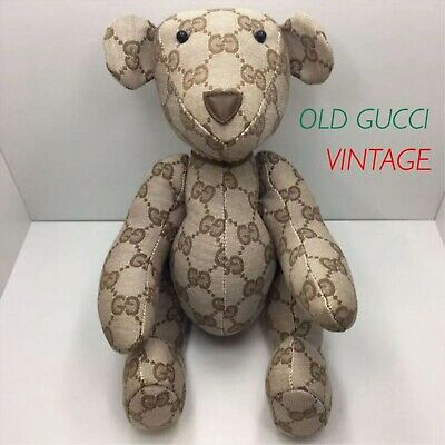 358c44a1294 GUCCI TEDDY BEAR GG Pattern Canvas Authentic Plush Toy Rare Italy ...