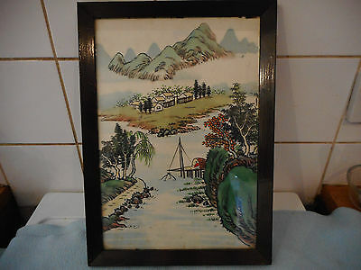 Vintage Chinese Painting  On Silk  Mountains and Man Fishing