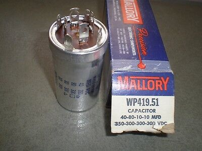NOS Mallory WP419.51 FP Type Capacitor 40,80,10,10 mfd FOR MCINTOSH  MX-110