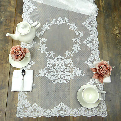 Runner Pizzo Poliestere Shabby chic Poly-Aurore Collection Colore Bianco