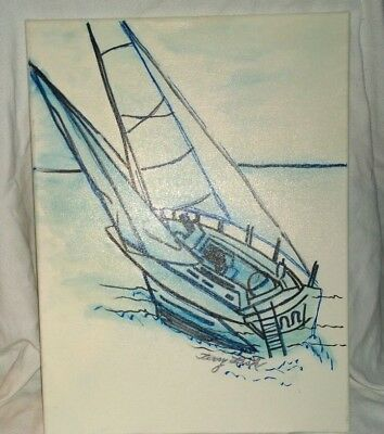 "Fine Art/Faber Castell,painting ""Sail Boat"",Original signed,Terry Lash 12X16"