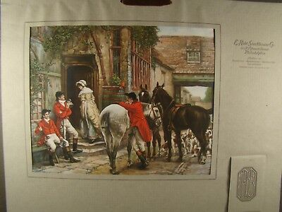Antique 1923 Calendar English Hunt Riders Hounds Thoroughbred Horses Pub Maiden