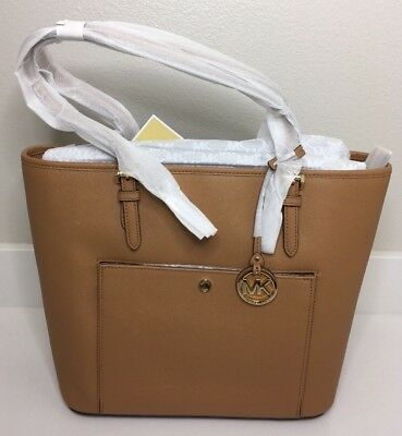 448532f4f099 NWT Michael Kors Jet Set Large Travel Saffiano Leather Tote Acorn 30S6GTTT3L