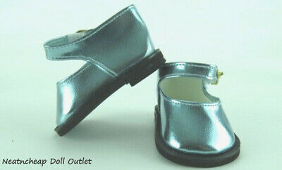 """Metallic Blue Mary Jane Strap Shoes Fits 18"""" American Girl Doll Clothes"""