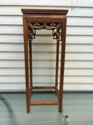 "Antique Chinese Hardwood Stand For Vase Or Object  14"" Wide X 30"" Tall"