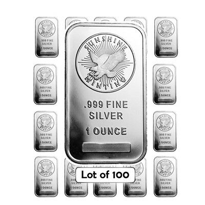 Lot of 100 - 1 oz Silver Sunshine Mint Bar .999 Fine (Sealed)