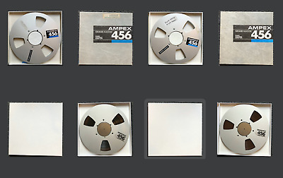 """AMPEX 456 10.5"""" Reel with 1/4"""" Magnetic Recording Tape w/ Storage Box Lot of 4"""