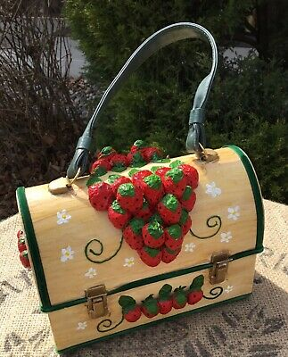 *RARE* Vintage Strawberry Lunch Box Purse Unique/Prom/Decopage Art Design