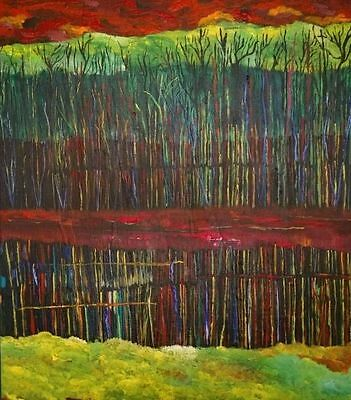 "Fine art ""mirrored forest"" Terry Lash Orignal, signed, Landscape, Realism, 16X20"