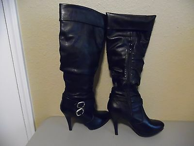 $109 STYLE & CO Black Double Buckle Fashion Knee High Slouch Boots Sz 9M Zipper