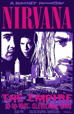 Nirvana 1991 - Concert VINTAGE BAND POSTERS Music Rare Rock Blues Old Advert #ob