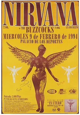 Nirvana 1994  - Concert VINTAGE BAND POSTERS Music  Rock Travel Old Advert #ob