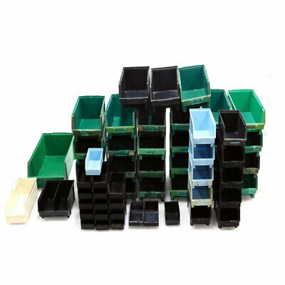 (Mixed Lot Of 58) Lewis Systems Stackable Storage Bins Various Sizes & Colors