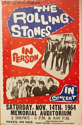 The Rolling Stones 1964 Concert VINTAGE BAND POSTERS Rock Travel Old Advert #ob