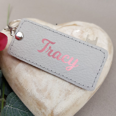 Handmade Personalised Keychain Grey Genuine Leather Keyring Woman Man Name Gift
