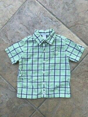 Janie and Jack LEAP INTO SUMMER 12/18 months EUC Green/blue plaid shirt