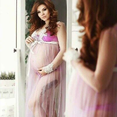 fc6481bf3abd9 Maternity Pregnant Women Dress Lace Mesh Mom Sundress Slit Beach Photo  Picture