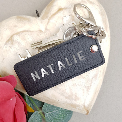 Personalised Keychain Name Keyring Black Genuine Leather Handmade Custom Gift