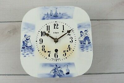 Delft Blue Porcelain Face Plate Wall Clock Movement Made In Germany Parts Repair